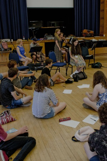 Young musicians sitting on the floor and listening to music