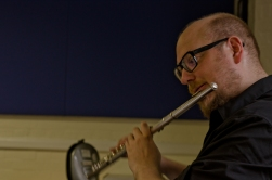 Flautist performing