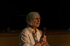 Judith Weir with a microphone