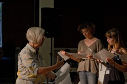 Judith Weir explaining a score to young musicians