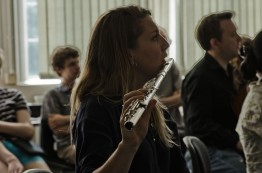 a flautist performing