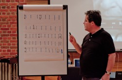 A man explaining rhythmic concepts on a flipchart board