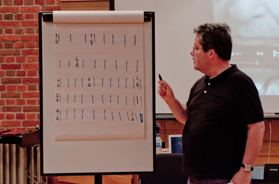 A man explaining rhythmic concepts on a flipchart board