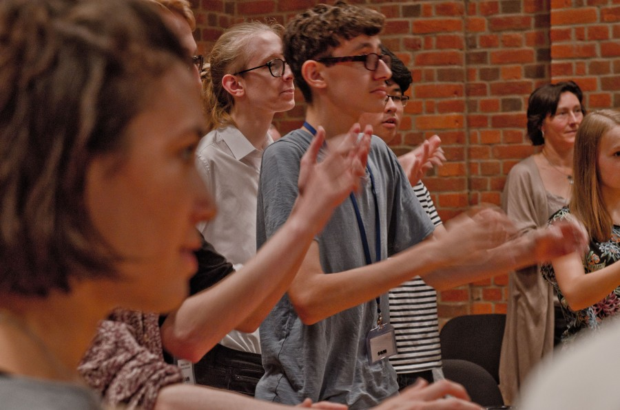 Young composers practice conducting
