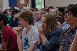 A crowd of young composers con