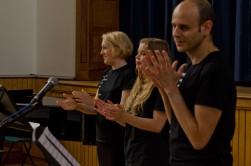 Performers applauding