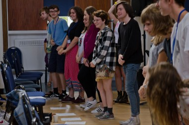 A group of young composers taking a bow